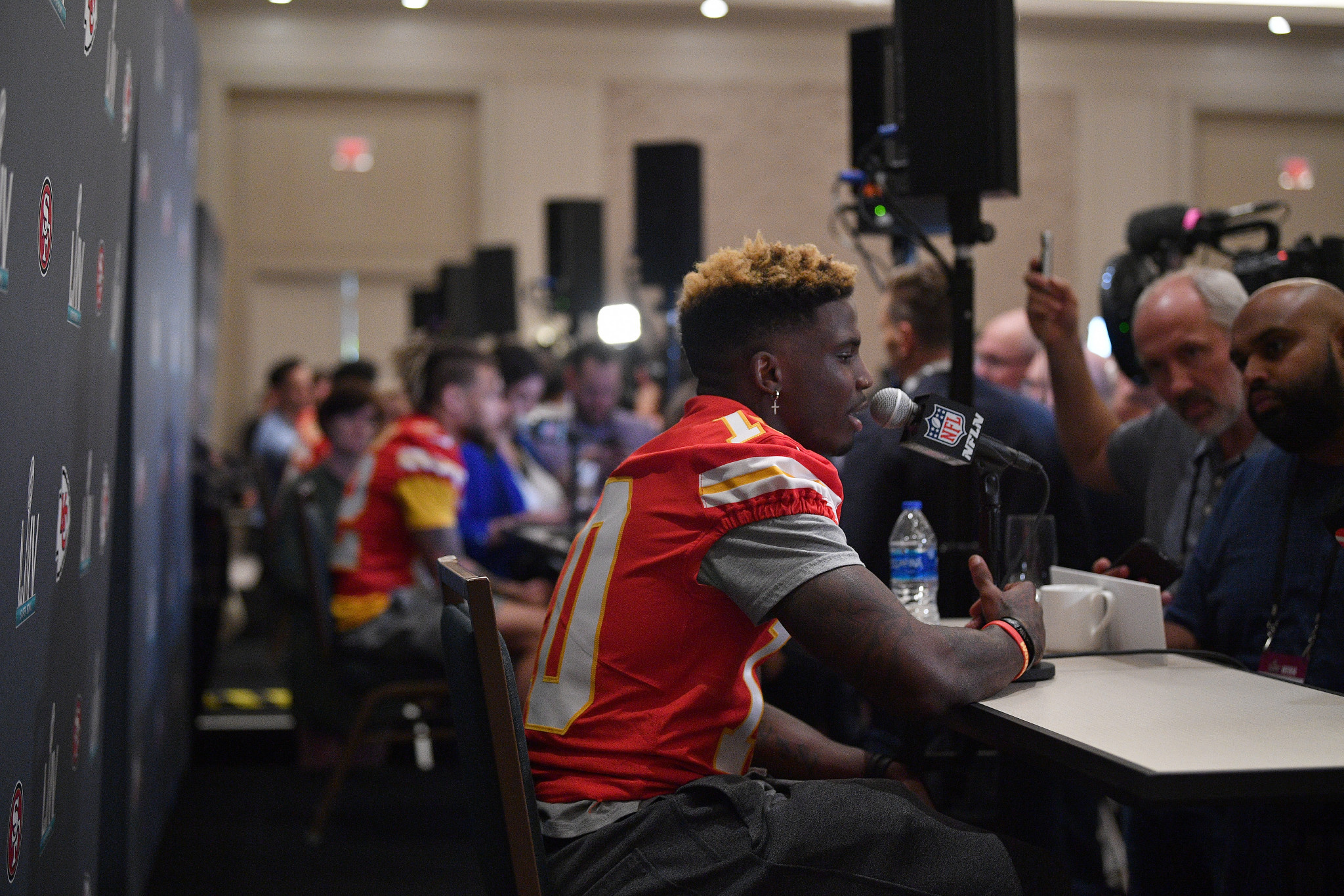 Tyreek Hill of Kansas City Chiefs outlines his Olympic ambitions to the media ahead of today's Super Bowl meeting with the San Francisco 49ers ©Getty Images