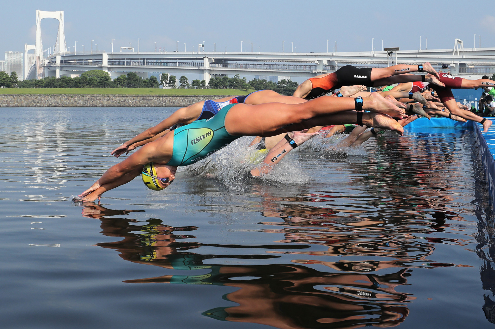 The Tokyo 2020 triathlon test event took place in high temperatures ©Getty Images