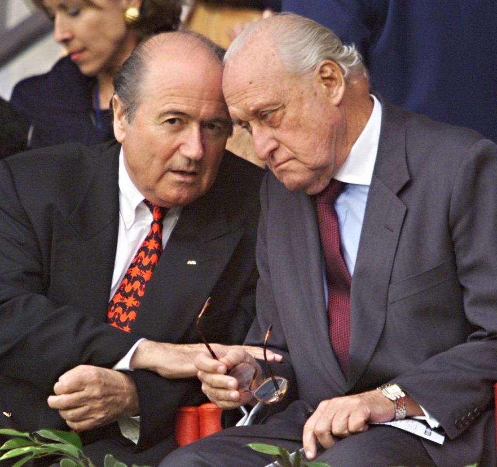 João Havelange (right) served as FIFA President for 24 years before being replaced by Sepp Blatter ©Getty Images