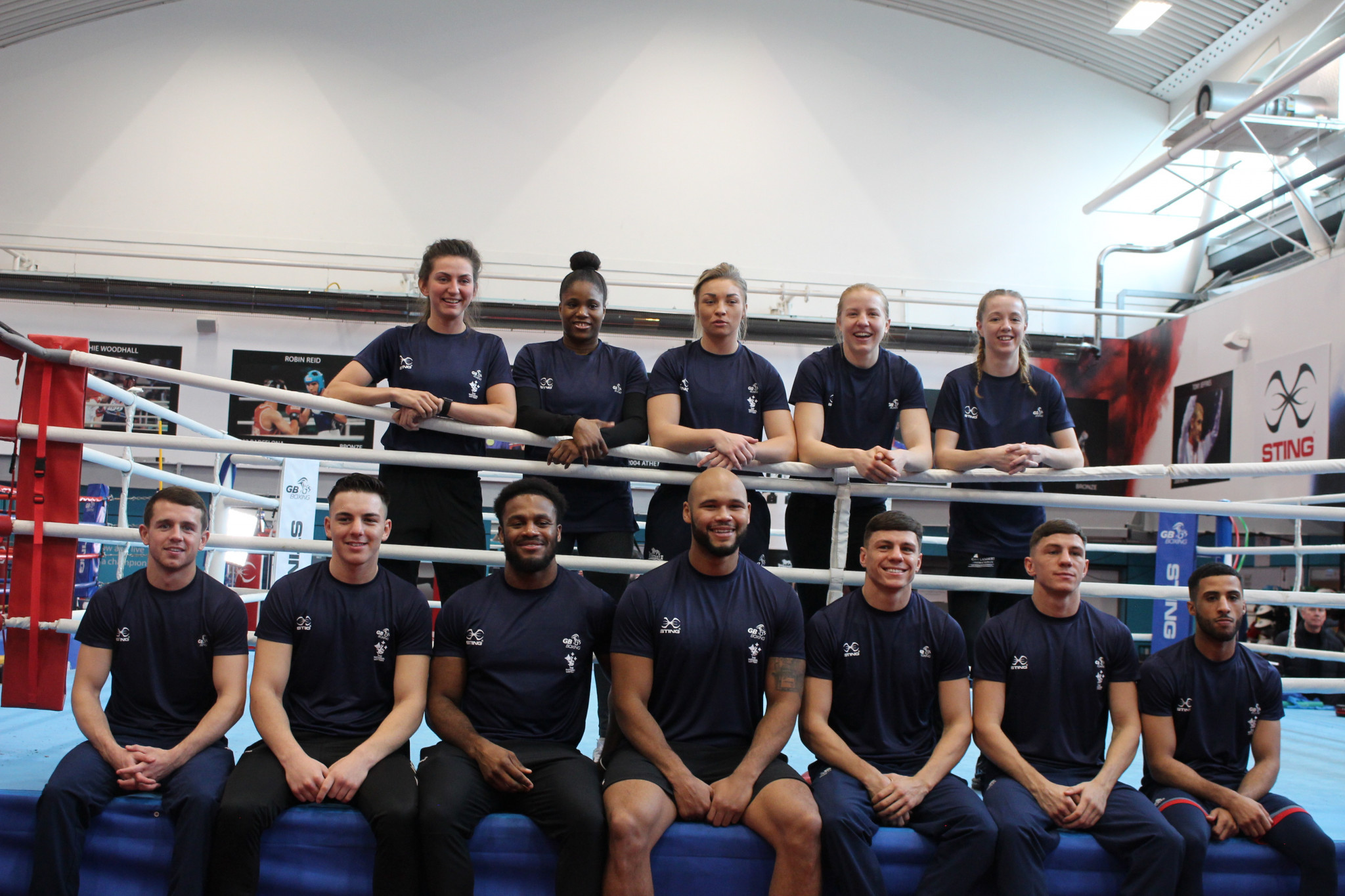 The GB Boxing team vying for qualification in London in March, with the most experienced member of the squad, Frazer Clarke, centre ©Getty Images