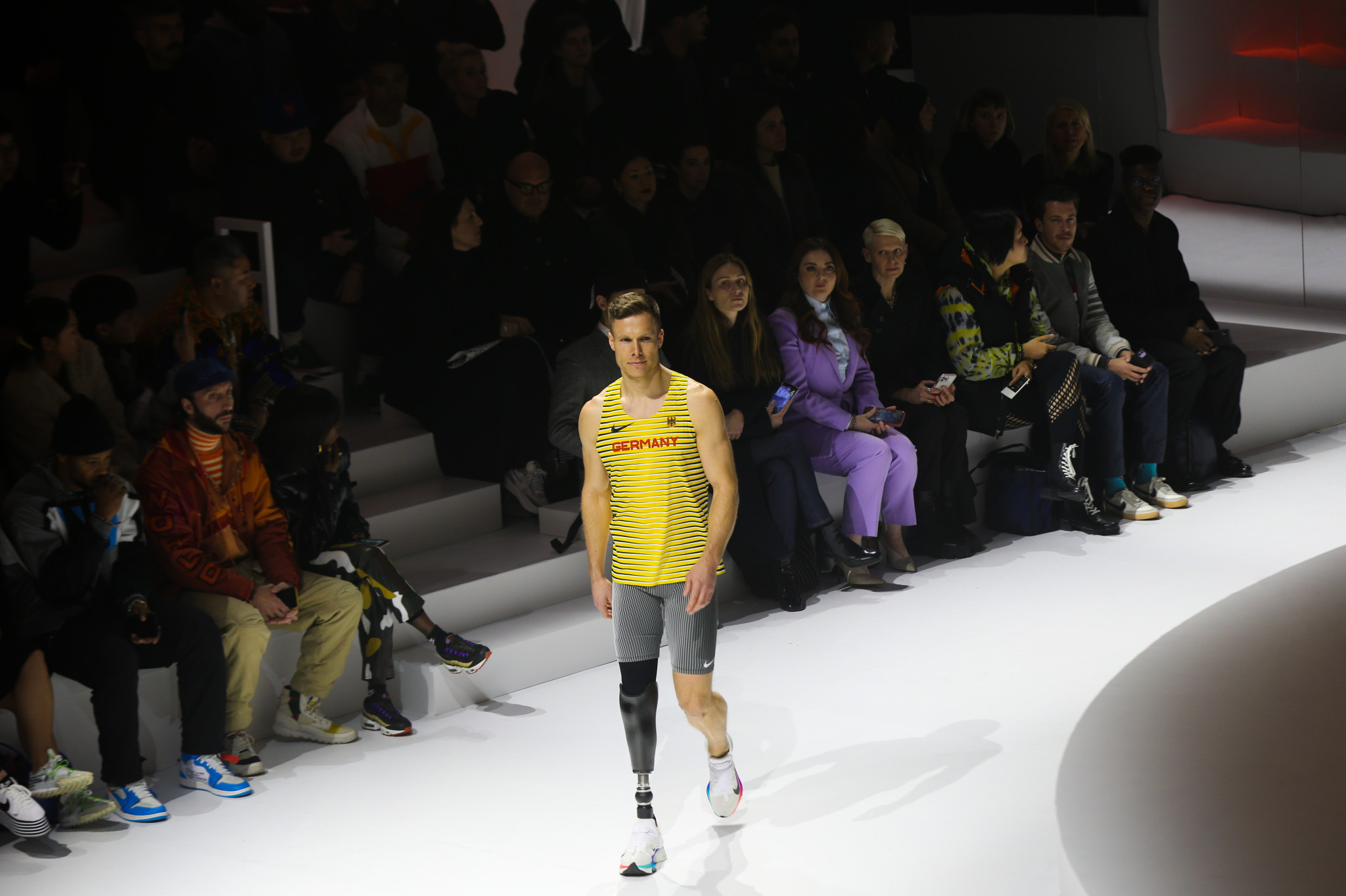 German paralympic long jumper Markus Rehm walks the runway during Nike's 2020 Tokyo Olympic collection fashion show at The Shed in New York City ©Getty Images