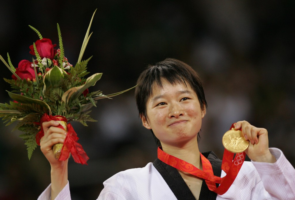 Wu Jiangyu celebrates her first Olympic gold medal at Beijing 2008 ©AFP/Getty Images