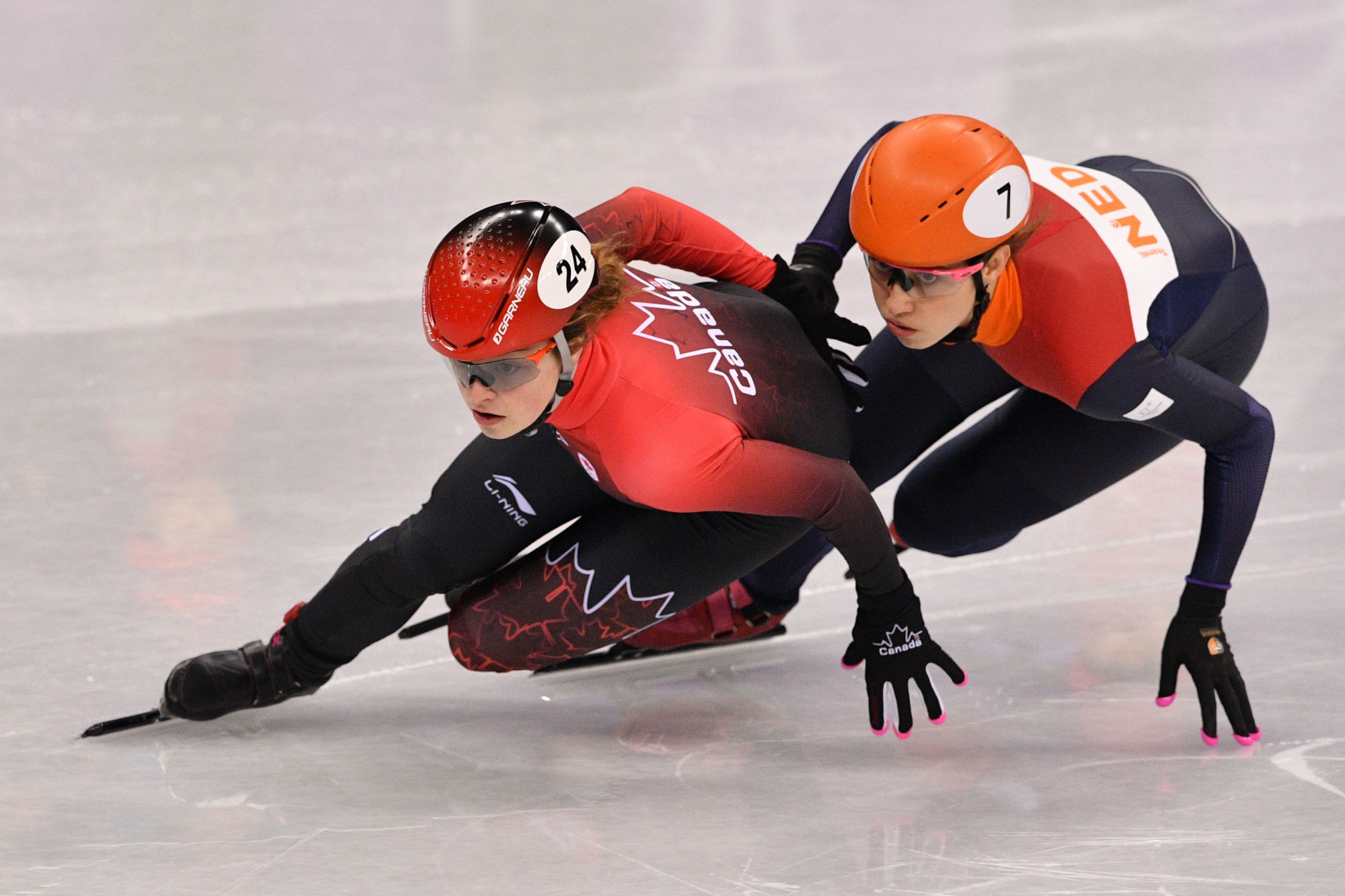 Canada's Kim Boutin, left, and Suzanne Schulting of The Netherlands are both closing on overall ISU Short Track World Cup titles at the fifth in the series in Dresden ©Getty Images