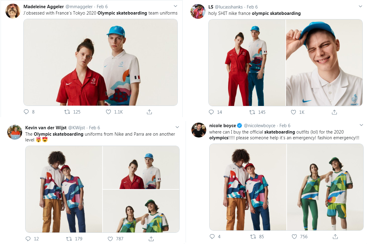 Nike's skateboarding outfits for the Tokyo 2020 Olympic Games were received well on social media ©Twitter