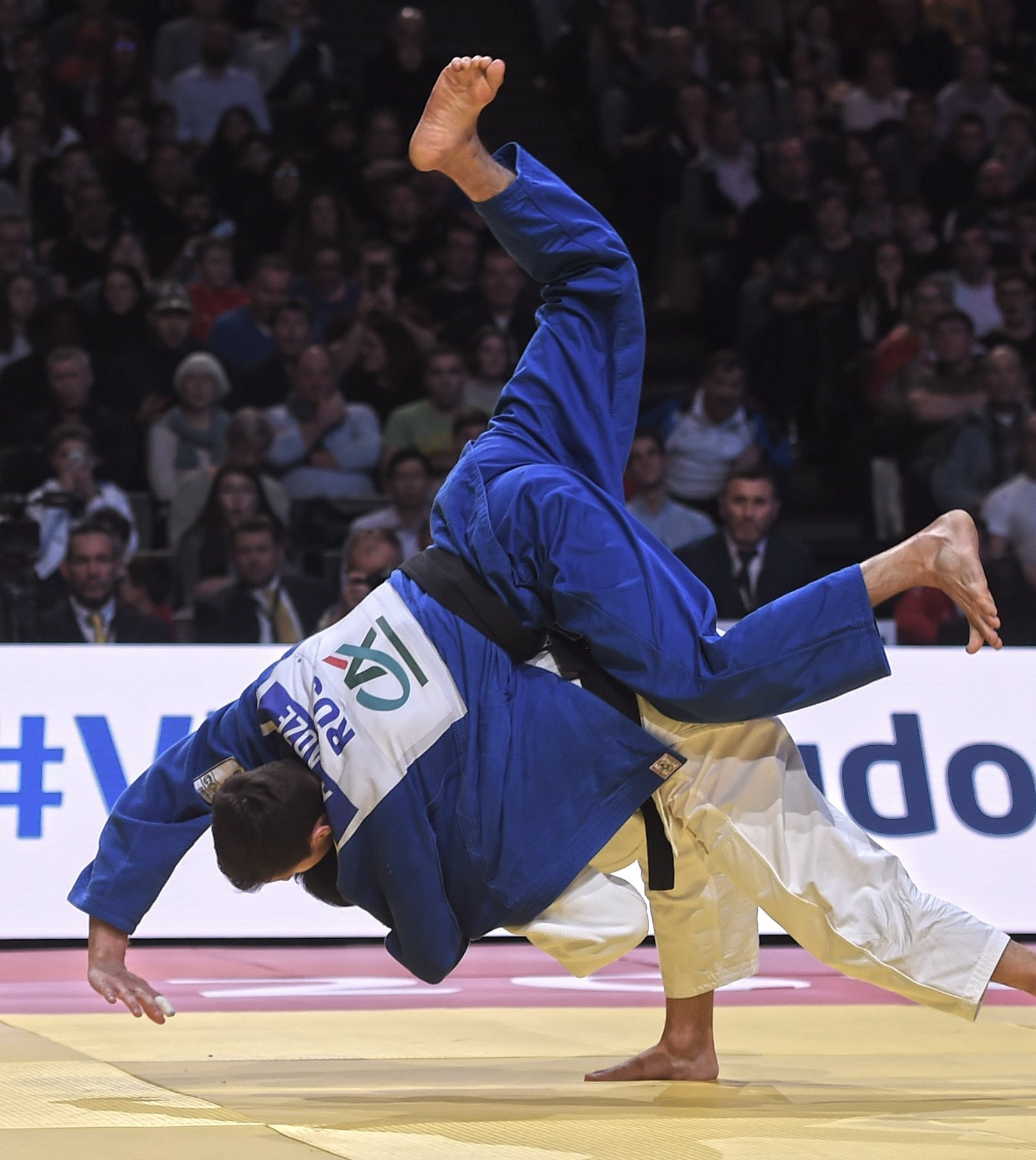 Japan's Nagayama Ryuju produced a remarkable comeback in the final of the men's under-60kg against Russia's Yago Abuladze to give his Tokyo 2020 hopes a big boost ©IJF