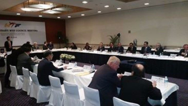 Officials attending the WTF Extraordinary Council meeting in Mexico City ©ITG