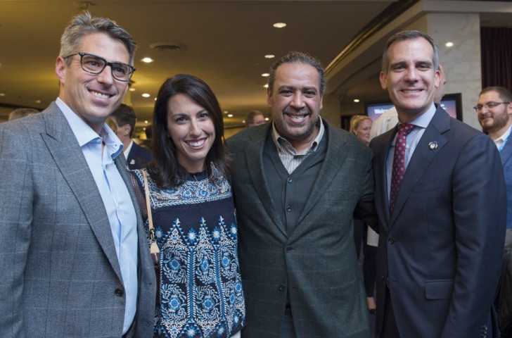 Casey Wasserman (left), pictured with four-time Olympic swimming champion Janet Evans, ANOC President Sheikh Ahmad Al-Fahad Al-Ahmed Al-Sabah and Los Angeles Mayor Eric Garcetti, says the LA 2024 Bid Committee has had a