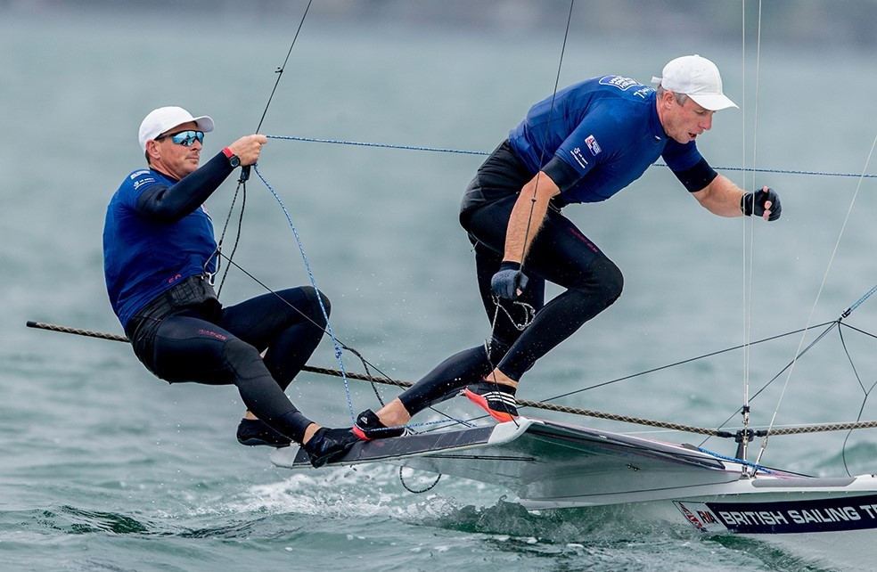 Britain's Dylan Fletcher-Scott and Stuart Bithell lead the 49er class ©Sailing Energy