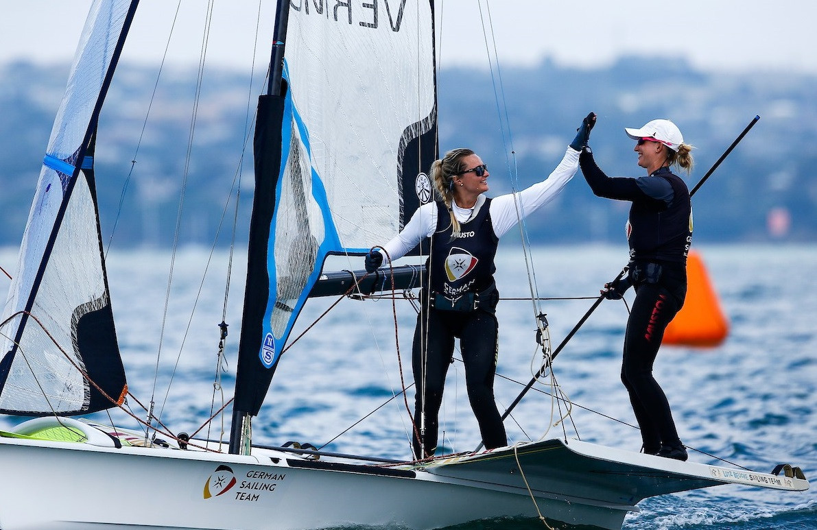Germany's Tina Lutz and Lotta Wiemers took charge of the 49erFX ©Sailing Energy