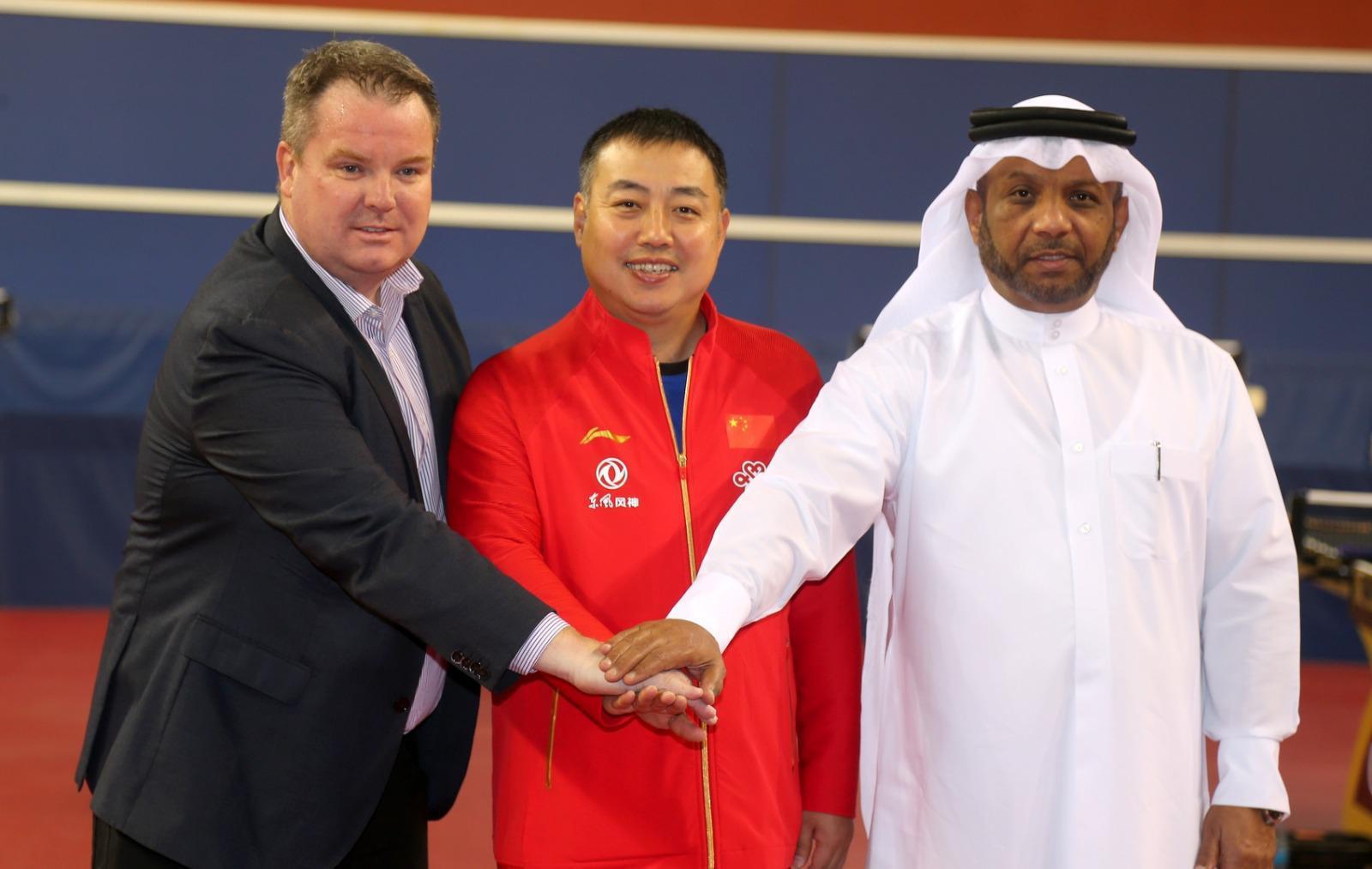 ITTF chief, Steve Dainton; CTTA President, Liu Guoliang and QTTA President and ITTF Deputy President, Khalil Al-Mohannadi all unite to support affected Chinese table tennis players ©ITTF