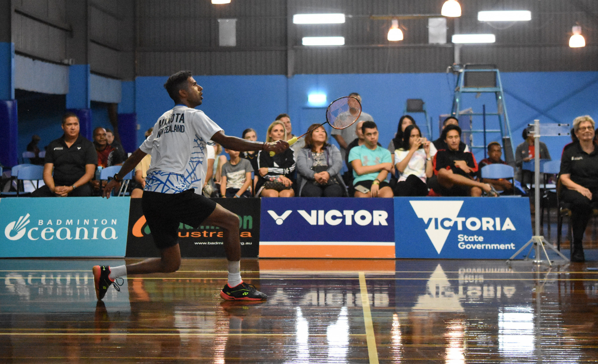 New Zealand's top seed Abhinav Manota regained the men's singles title and added doubles gold ©Ballarat Badminton