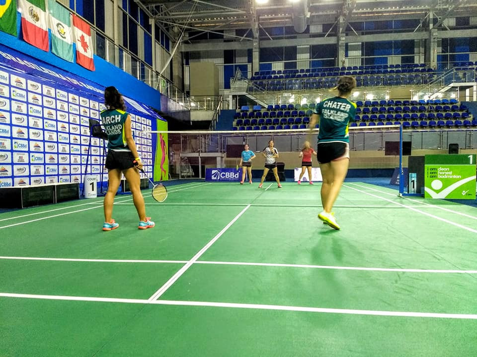 The Falkland Islands team training at the event in Brazil ©Falkland Islands Badminton