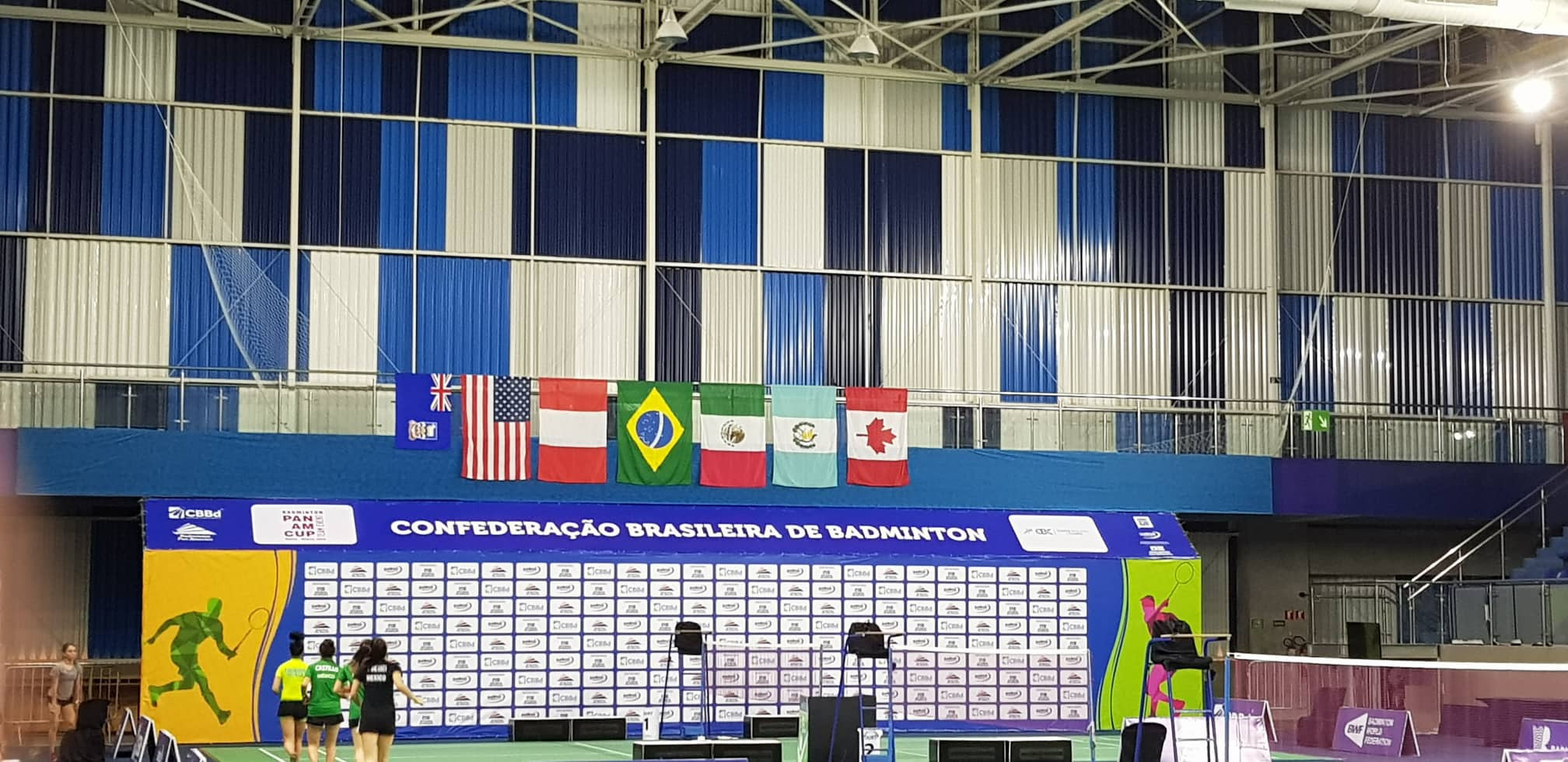 The Falkland Islands flag flying in the venue in Brazil, far left ©Falkland Islands Badminton