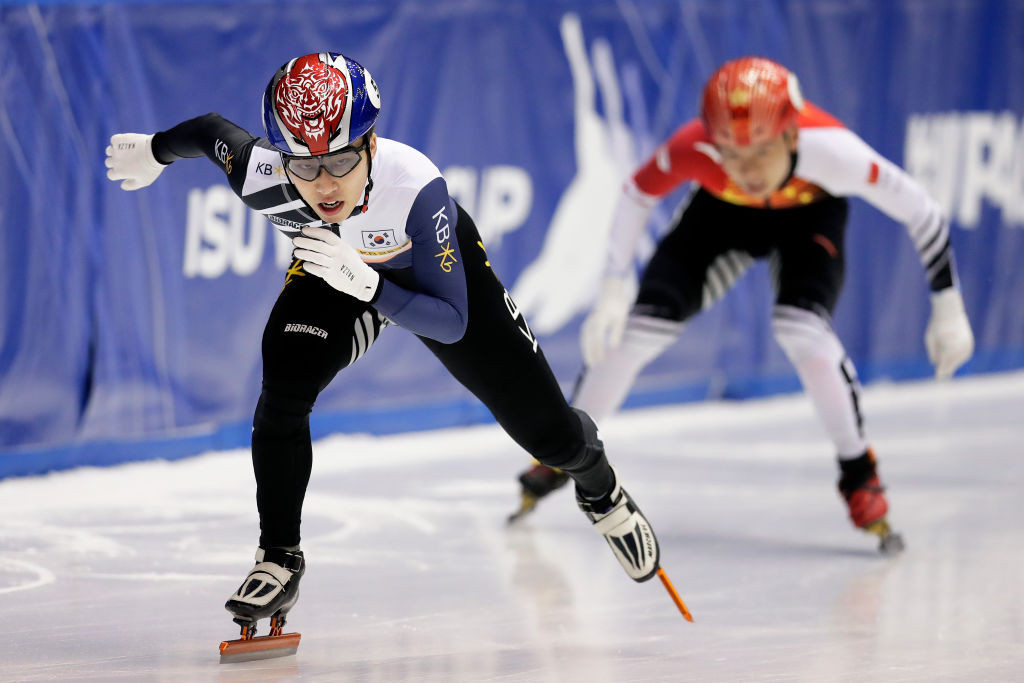 South Korea's Park Ji-won qualified fastest for the men's 1,000m quarter-finals ©ISU