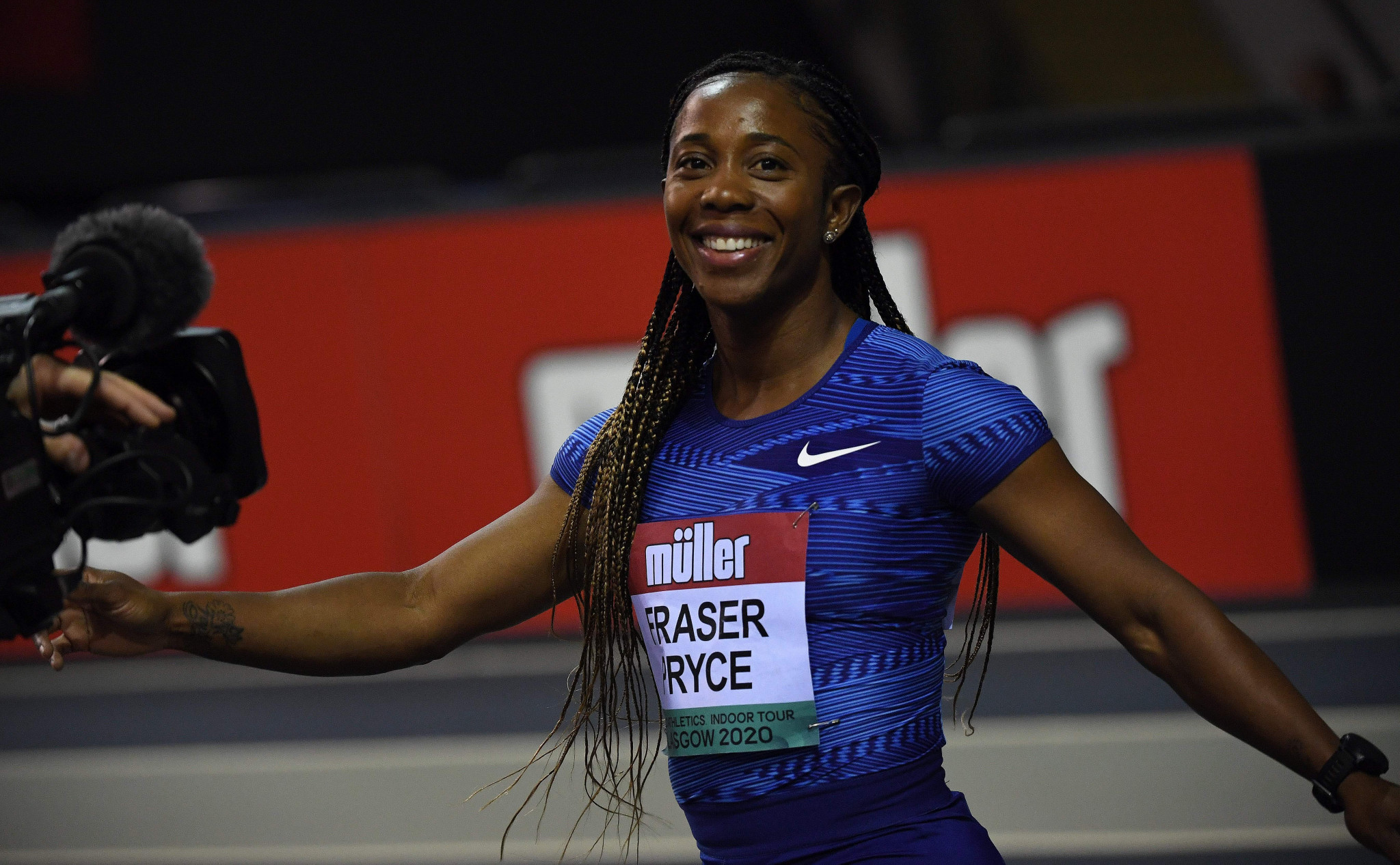 Shelly-Ann Fraser Pryce broke the six-year indoor unbeaten run by Murielle Ahoure ©Getty Images