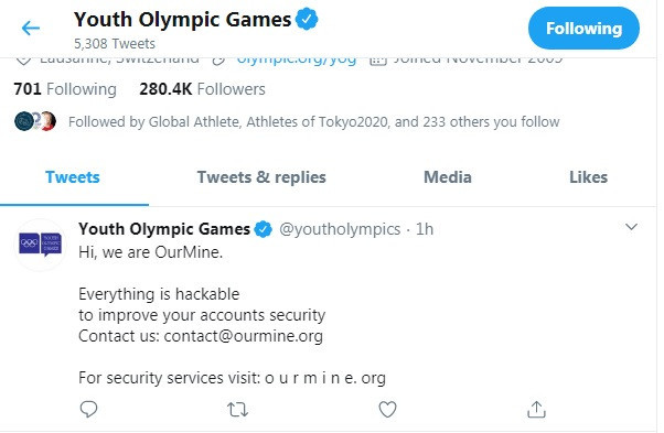 The official Youth Olympic Games Twitter page was among the others affected ©ITG