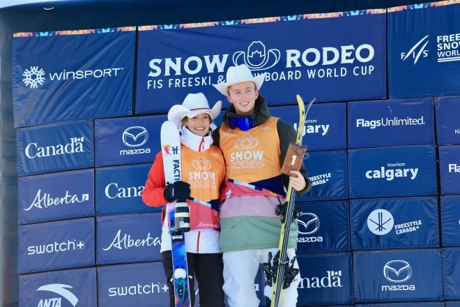 Eileen Gu and Andri Ragettli were the slopestyle champions in Calgary ©FIS