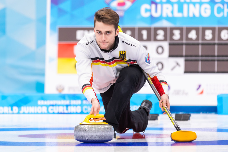 Germany's skip Sixten Totzek has maintained his side's unbeaten streak in the men's competition - the only men's side to do so © WCF/Emil Cooper