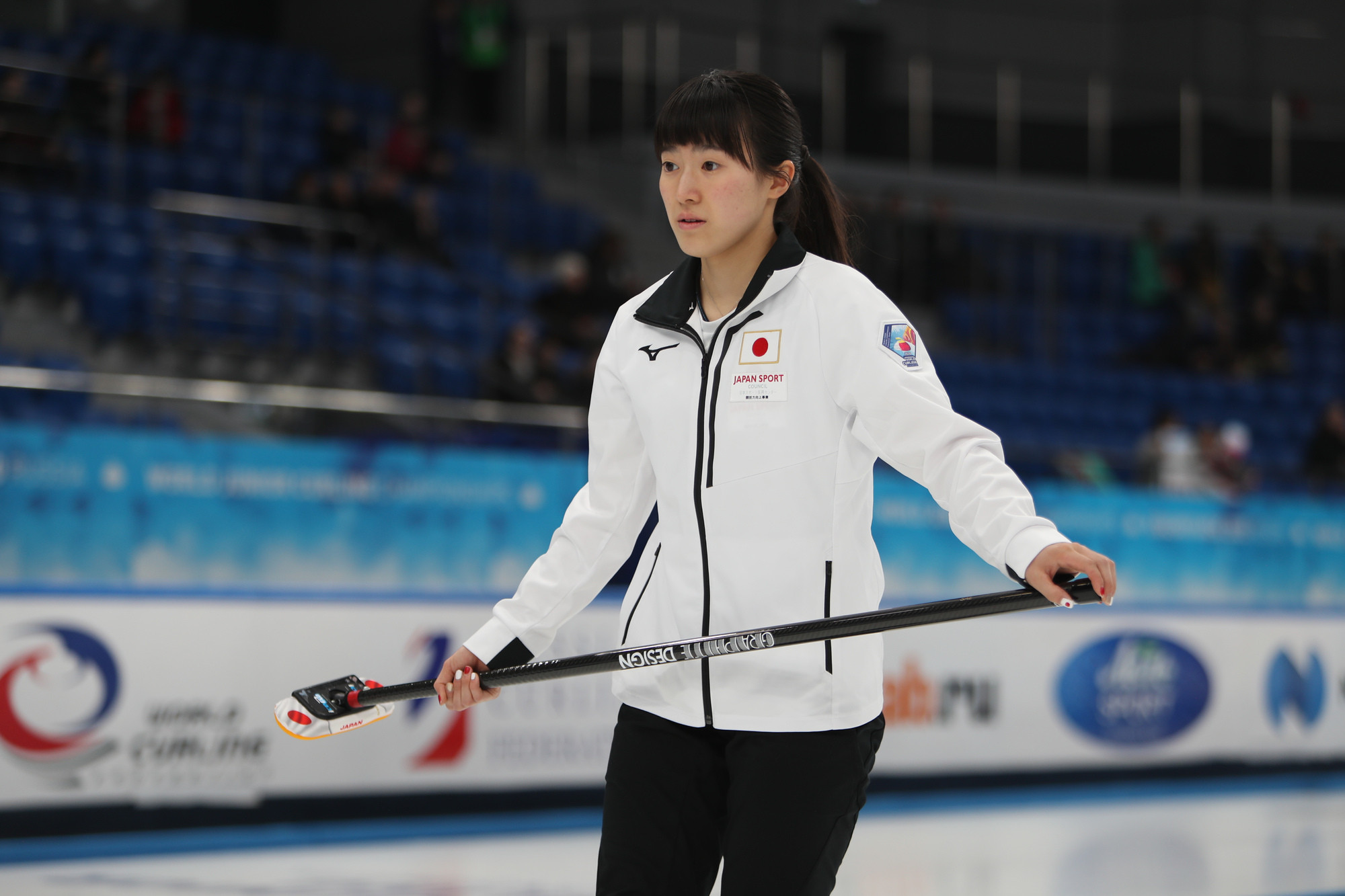 Japan skip Sae Tamamoto leads one of three unbeaten women's teams so far in the competition ©WCF/Richard Gray