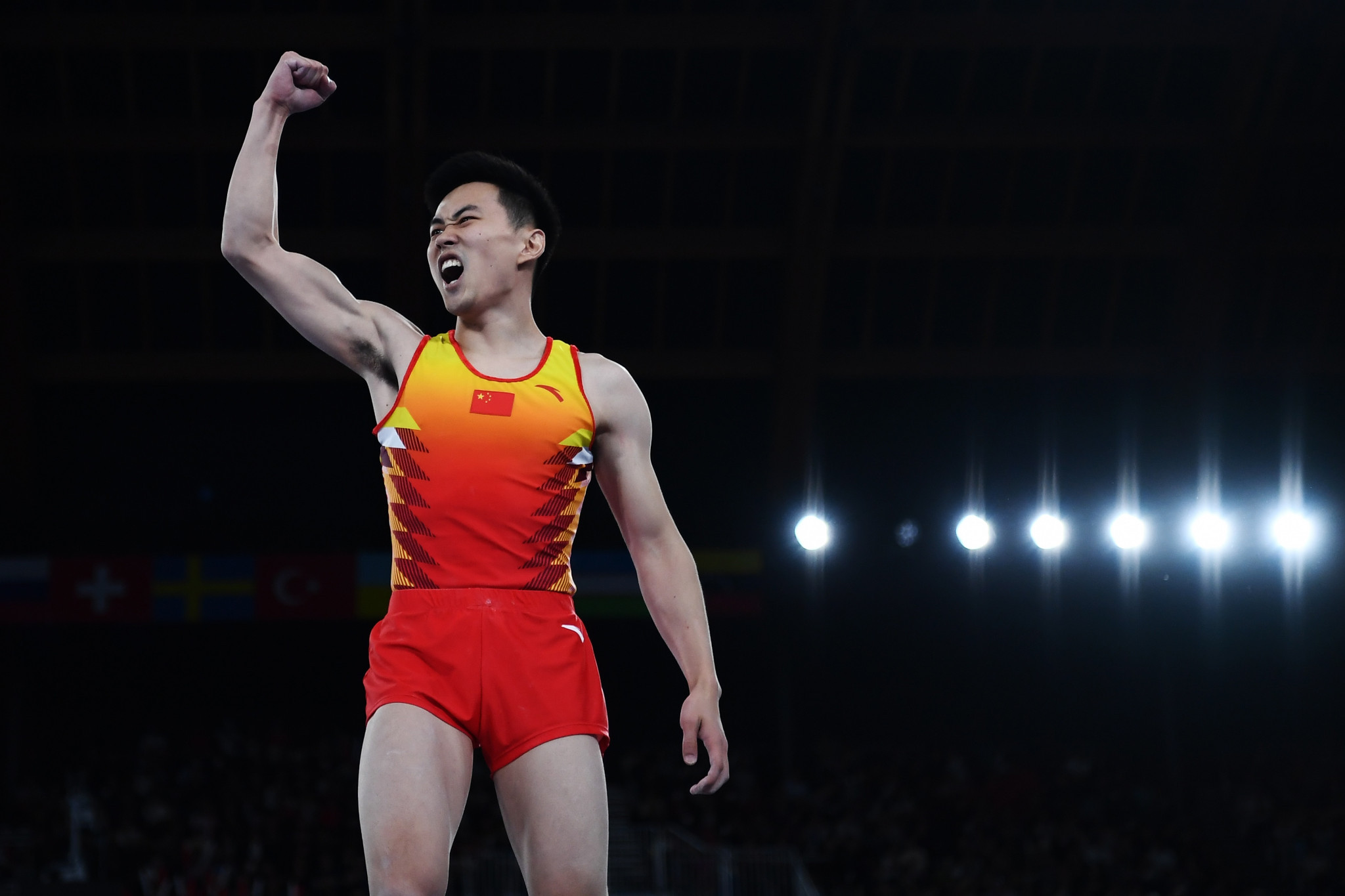 Gao Lei triumphed in the men's trampoline competition in Baku ©Getty Images