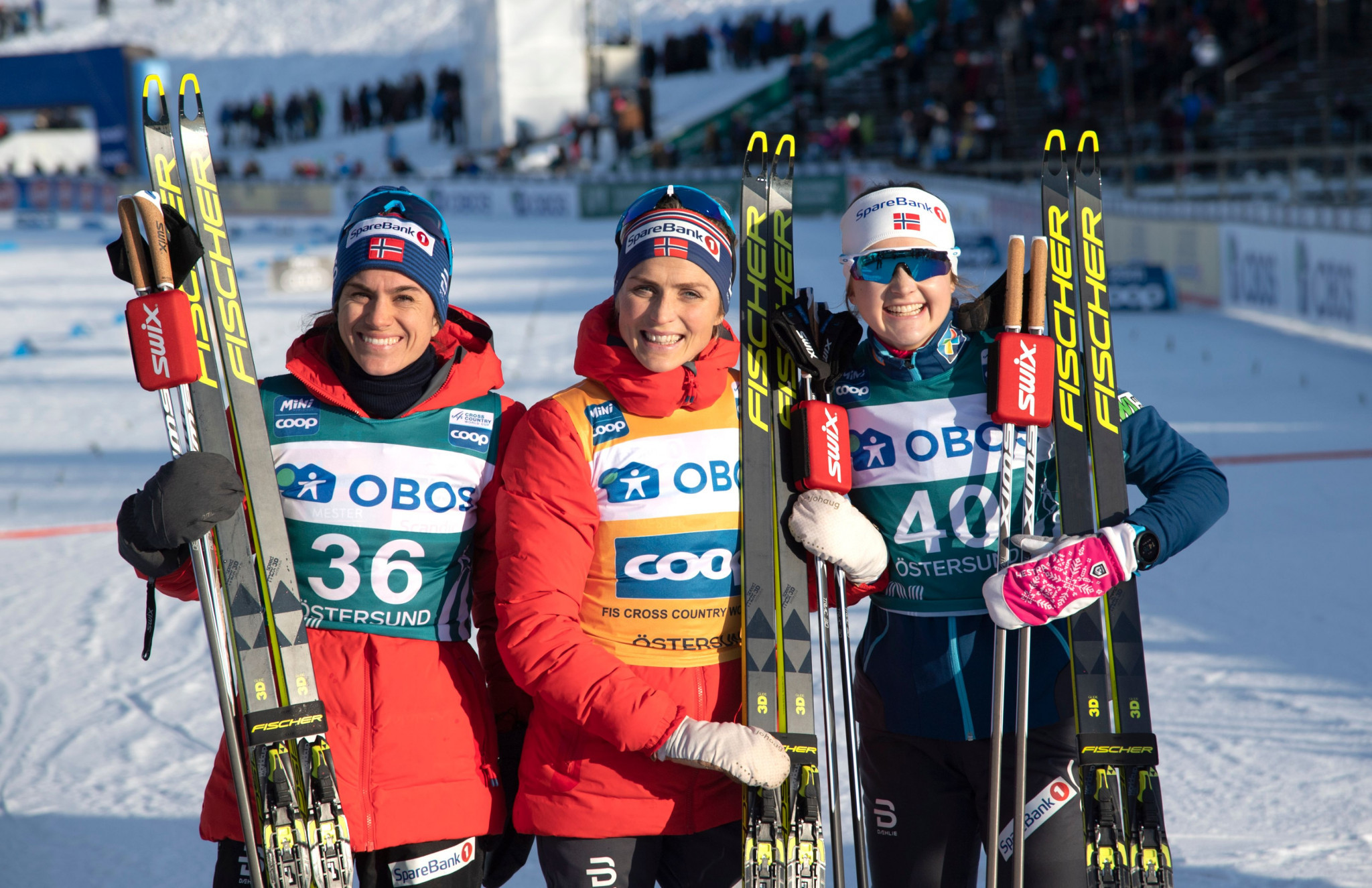 Norwegian trio Therese Johaug, centre, second place Heidi Weng, left, and Ingvild Flugstad Østberg, right produced the same World Cup podium two days in a row ©Getty Images