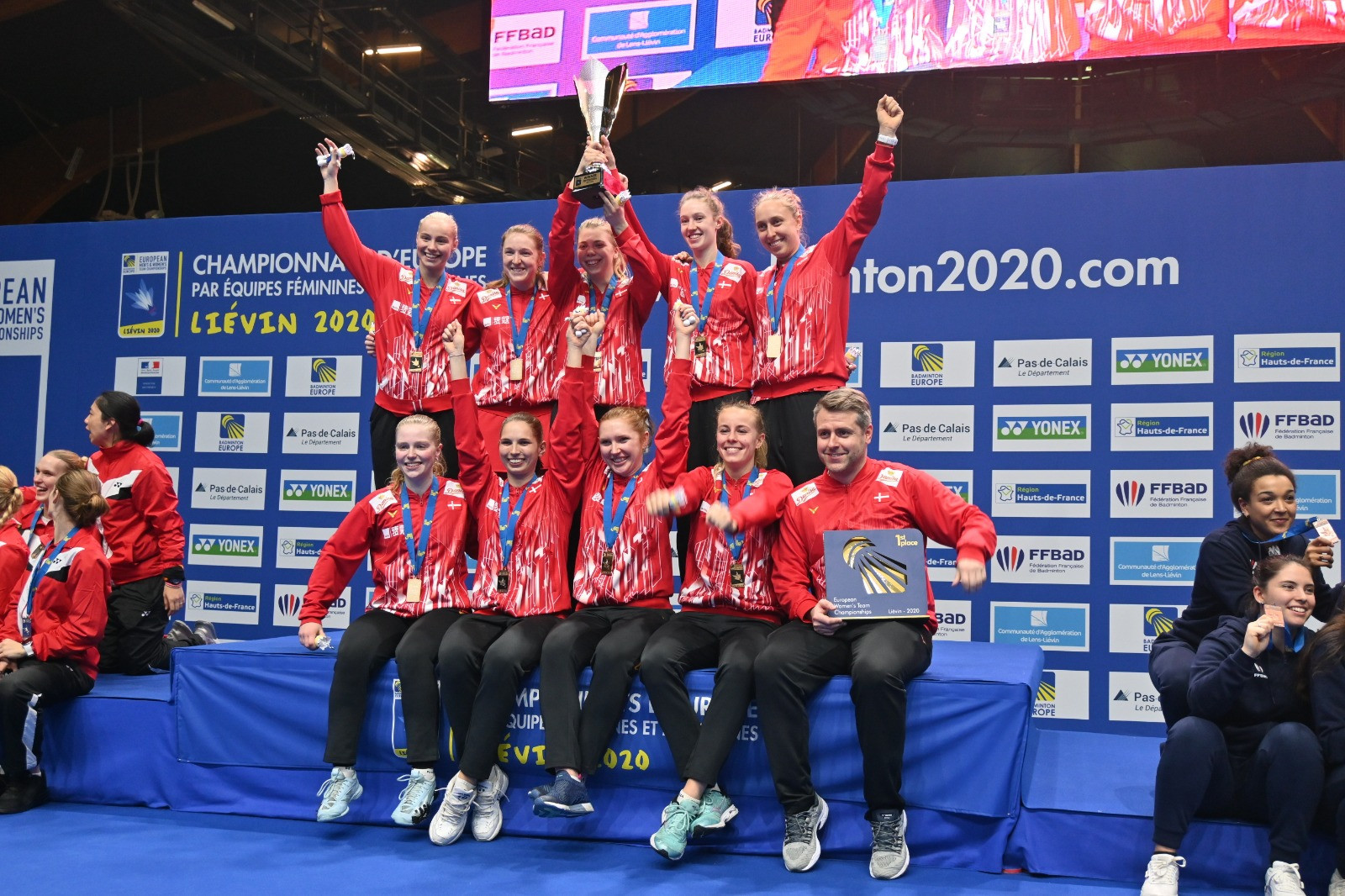 Denmark's women celebrate victory at the European Team Championships in Lievin ©Badminton Europe