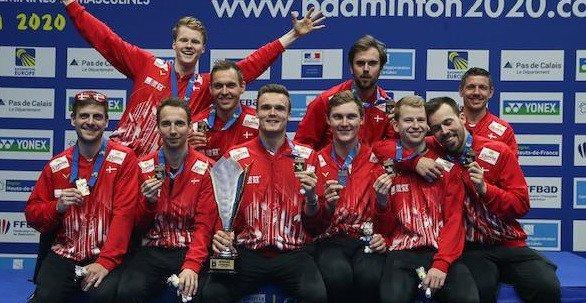 Denmark's men celebrate their victory at the European Team Championships in Lievin ©Badminton Europe