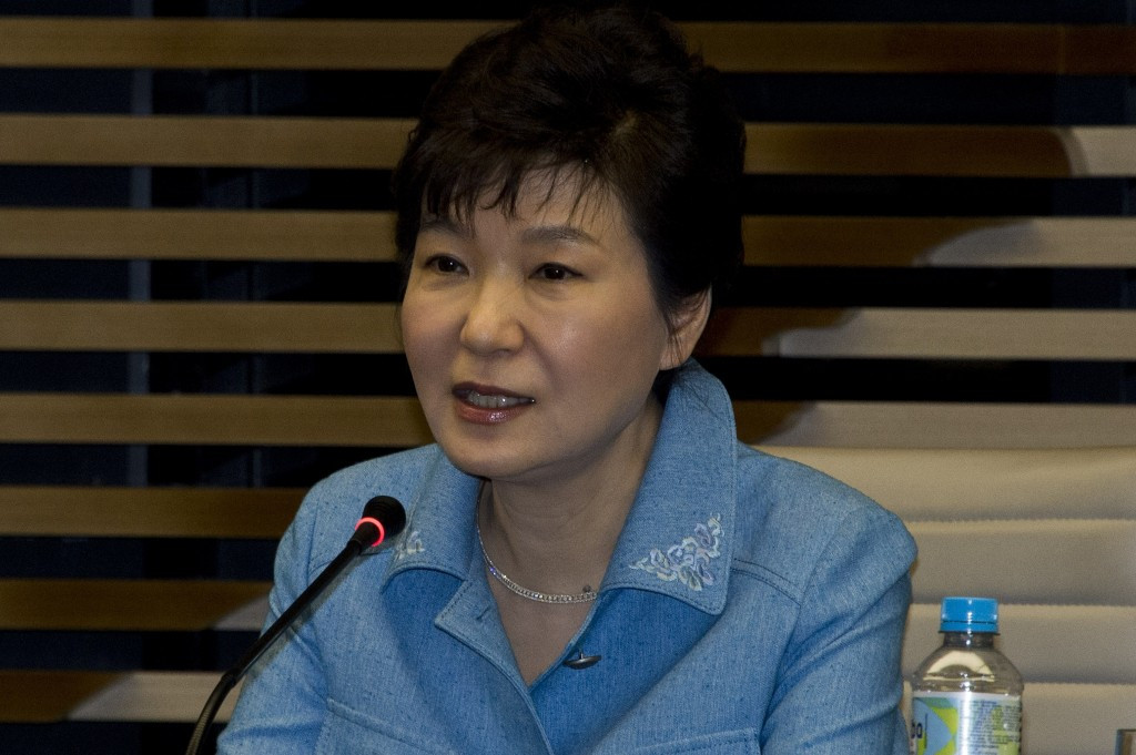 South Korean President Park Geun-hye delivered a message to the attendees at the Opening Ceremony via video link