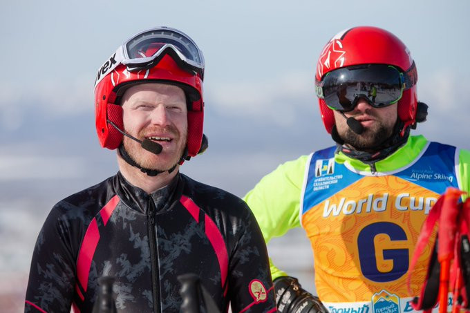 Russia's Ivan Frantsev and guide German Agranovskii were the winners of the men's visually impaired super-G at the World Para Alpine Skiing World Cup in Yuzhno-Sakhalinsk today ©Para Snow Sports/Twitter