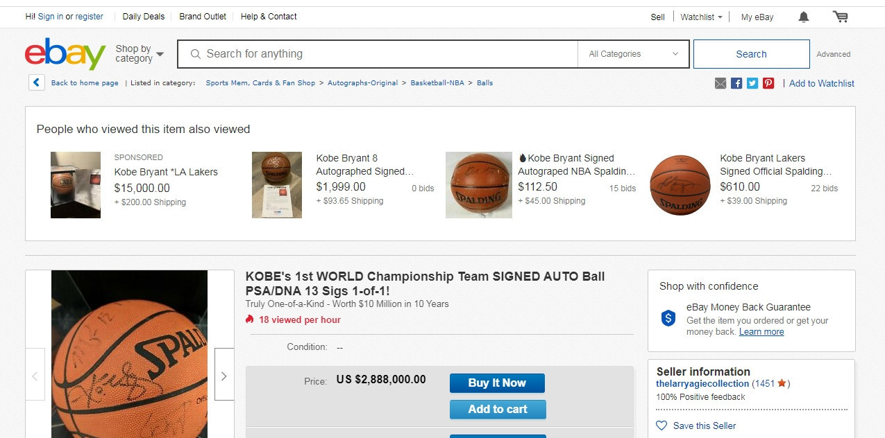 One seller on eBay is asking for nearly $3 million for a basketball signed by Kobe Bryant following his death ©eBay