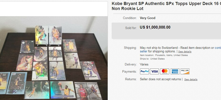A pack of Kobe Bryant trading cards has sold for $1 million on eBay ©eBay