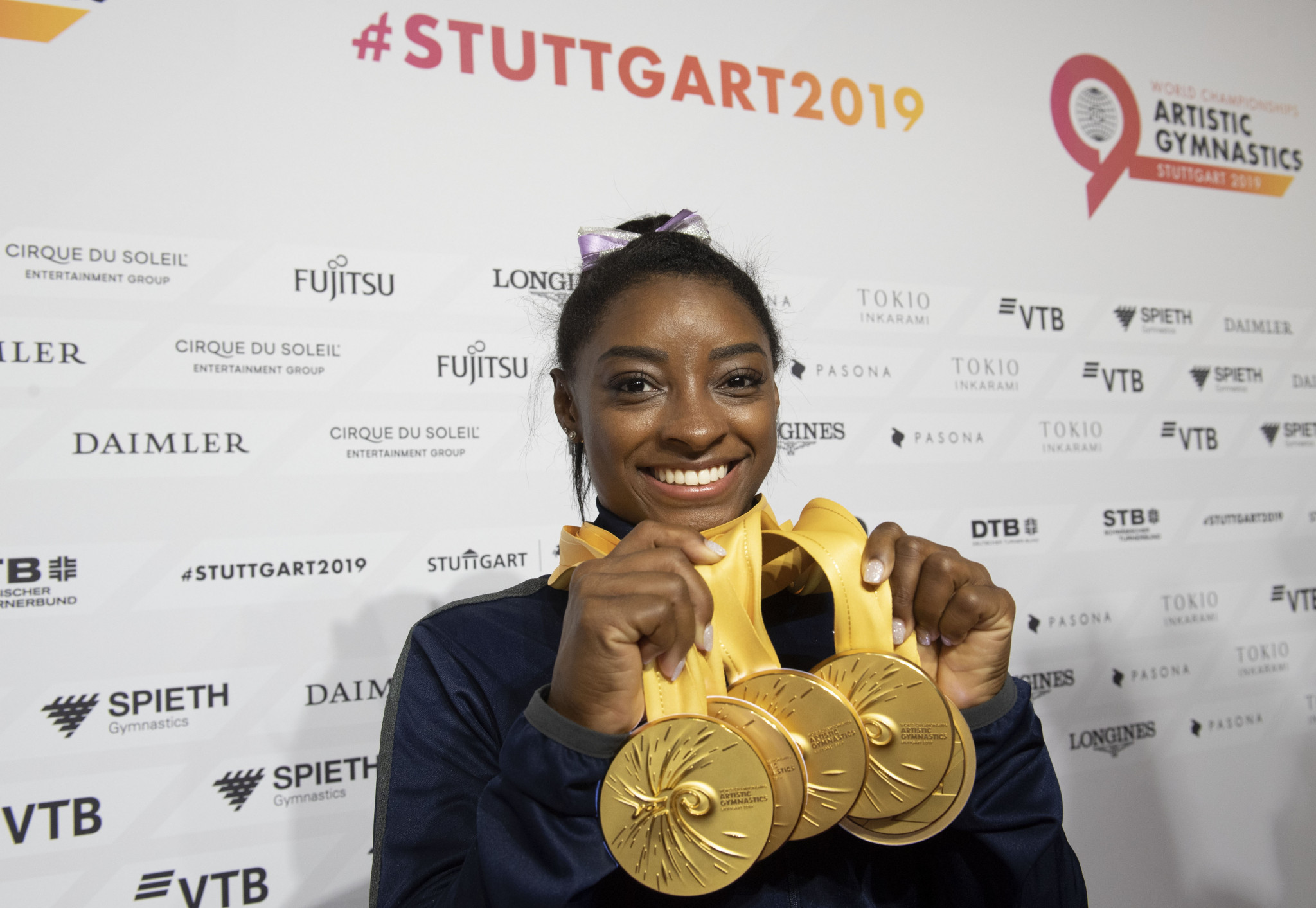 Simone Biles won five gold medals at the World Championships in 2019 ©Getty Images