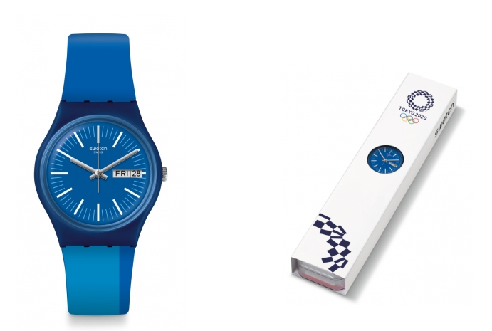 The Tokyo 2020 Blue design comes without branding on the watch ©Swatch Group