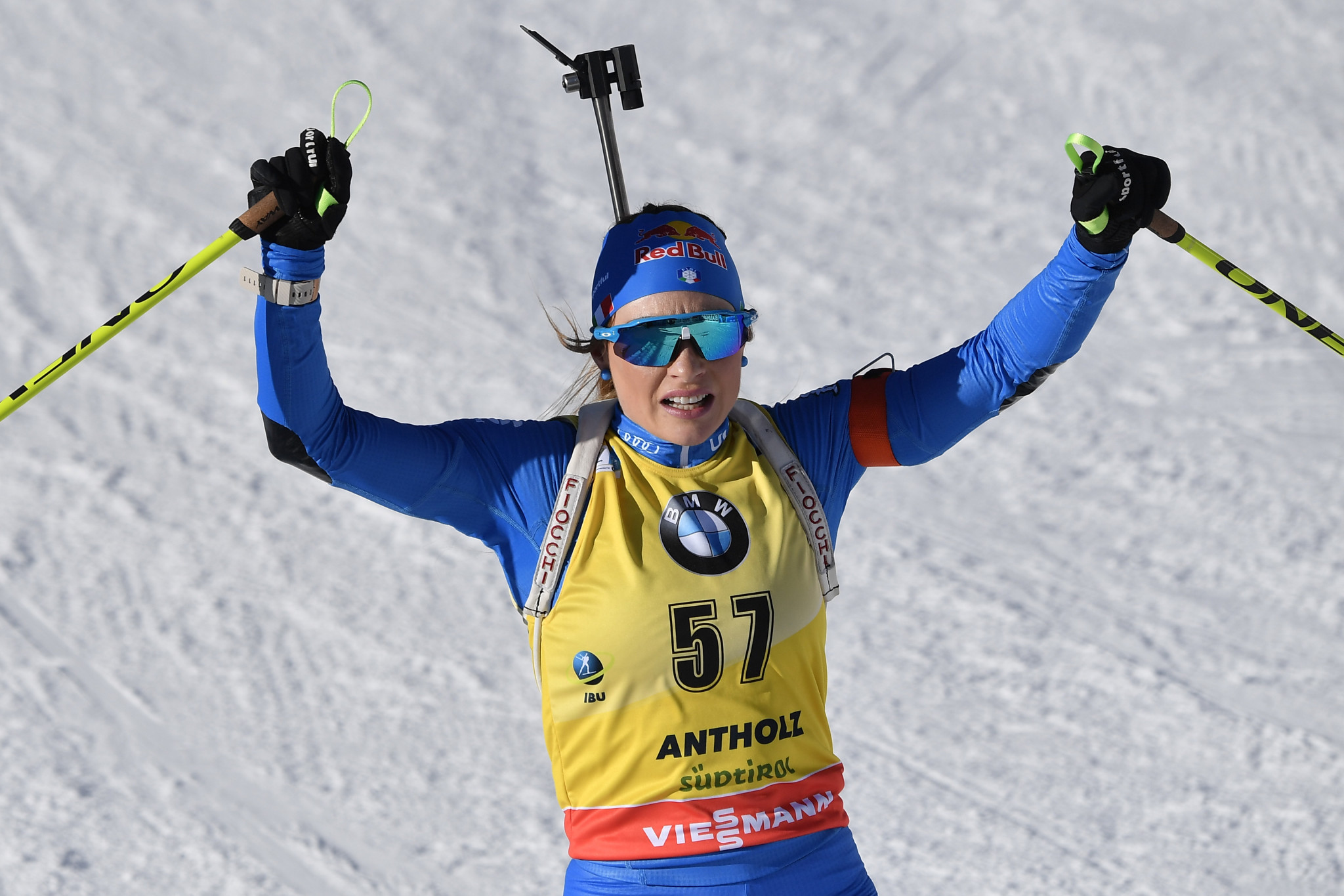 Italy's Dorothea Wierer celebrates her latest victory at the Biathlon World Championships in Antholz-Anterselva ©Getty Images