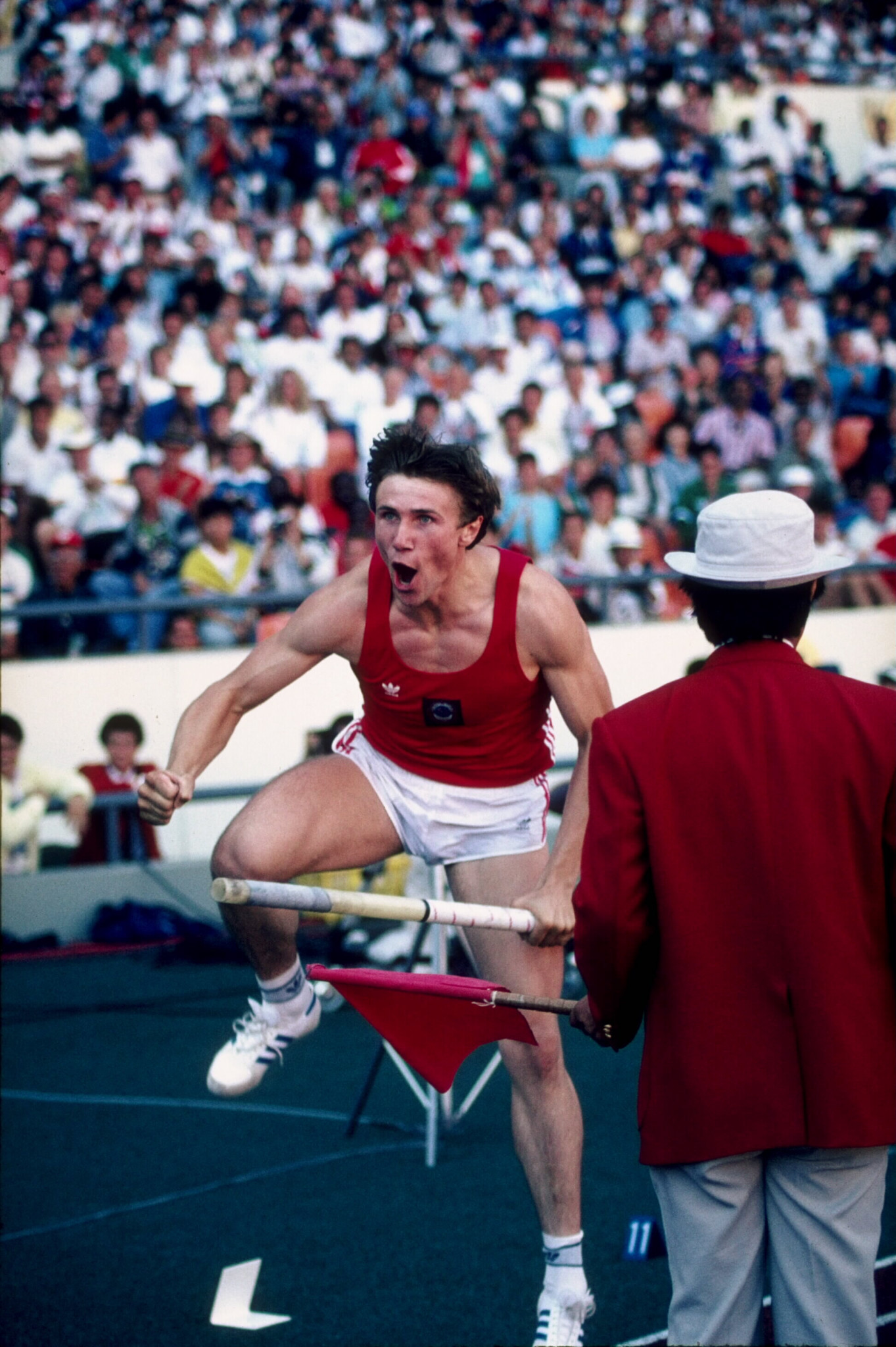 Sergey Bubka, pictured during the 1988 Seoul Olympics final where he took pole vault gold, set a world indoor record of 6.14m at Liévin in 1993 ©Getty Images