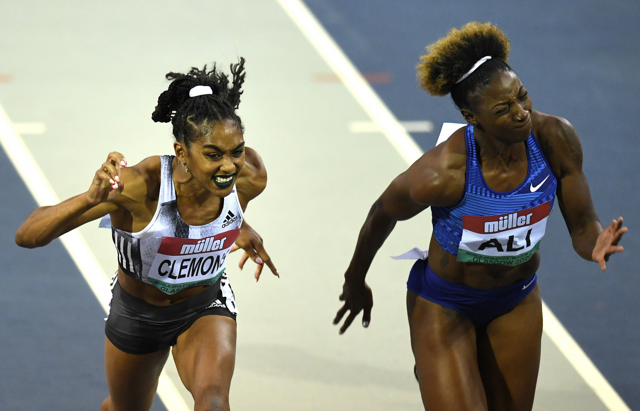 World 100m hurdles champion Nia Ali, right, will be in the field in the women's 60m hurdles in Liévin tomorrow night ©Getty Images