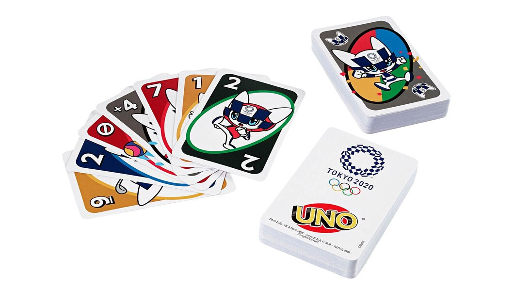 The new Uno card deck, featuring the mascot for the Games, Miraitowa ©Mattel