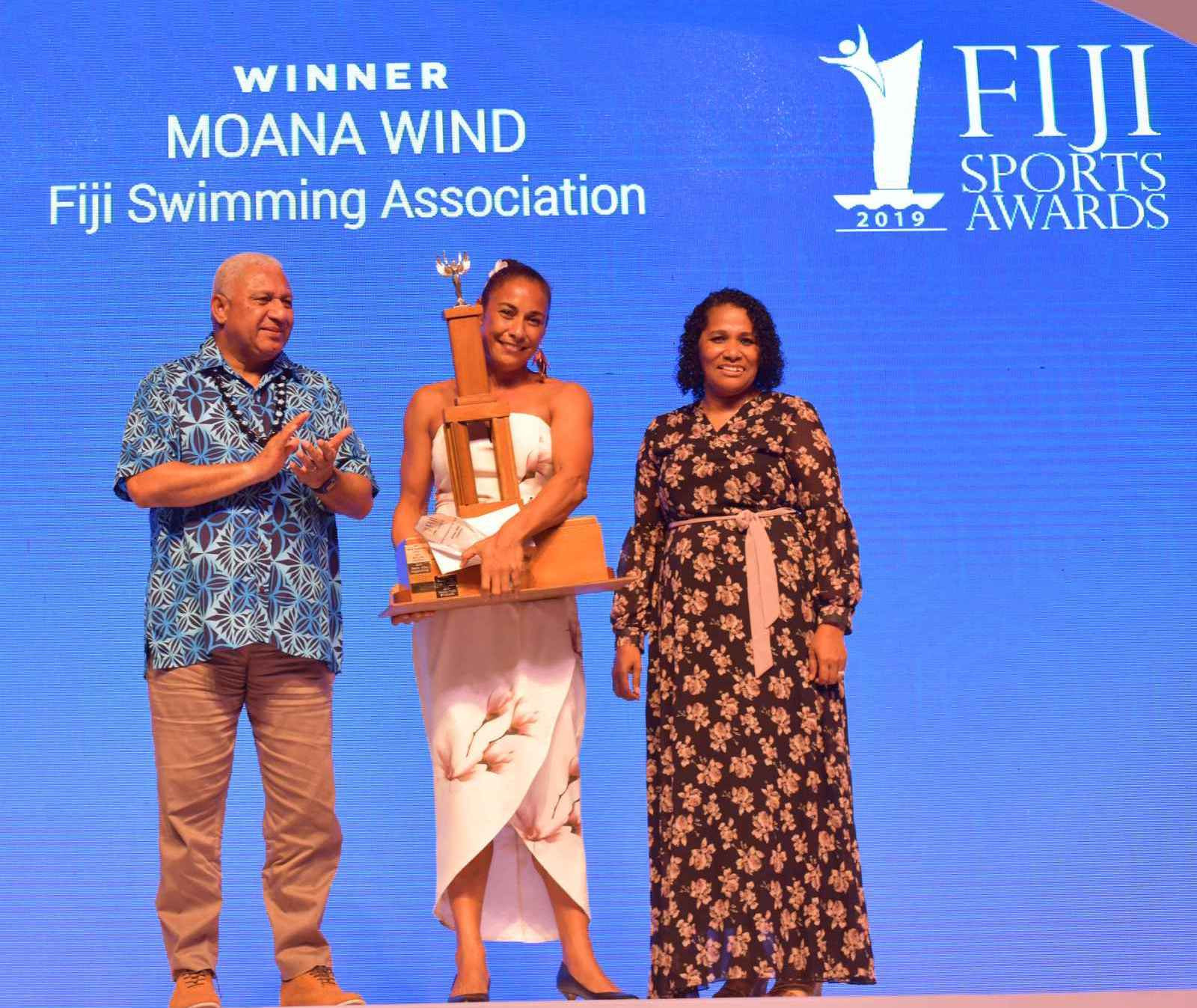 Swimmer Moana Wind received the sportswoman of the year accolade at the Fiji Sports Awards ©Facebook