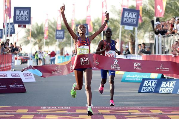Ababel Yeshaneh broke the women's half marathon world record in February ©Getty Images
