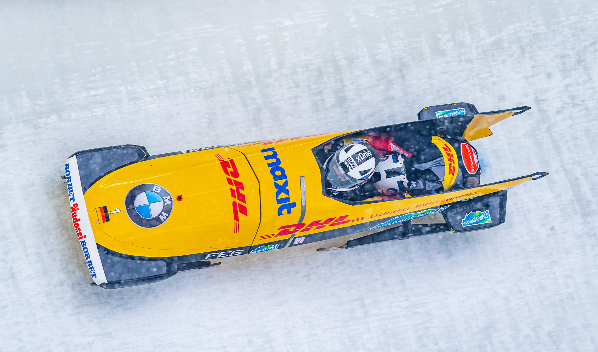 Germany's defending champion Mariama Jamanka is outside the podium positions at the halfway stage of the two-woman bob at the IBSF World Championships in Altenberg ©Getty Images