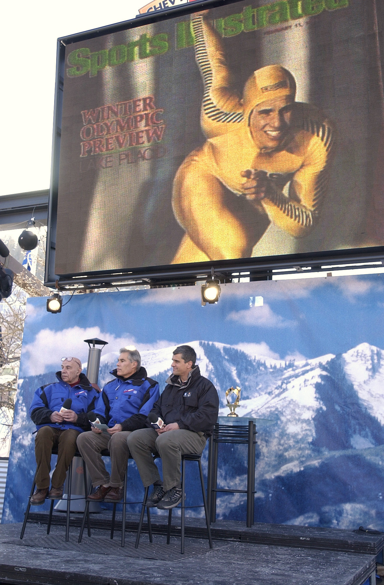 Heiden, right, was honoured at the Salt Lake City 2002 Games by film-maker Bud Greenspan, left, as one of the 10 greatest Winter Olympians of all time ©Getty Images
