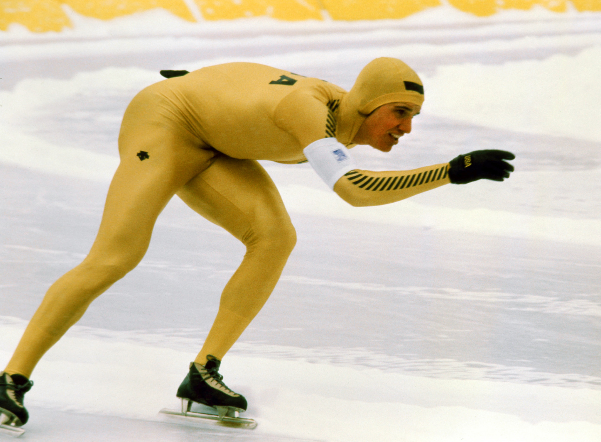 Heiden claims the first of his five golds, over 500m, at the Lake Placid 1980 Winter Olympics ©Getty Images