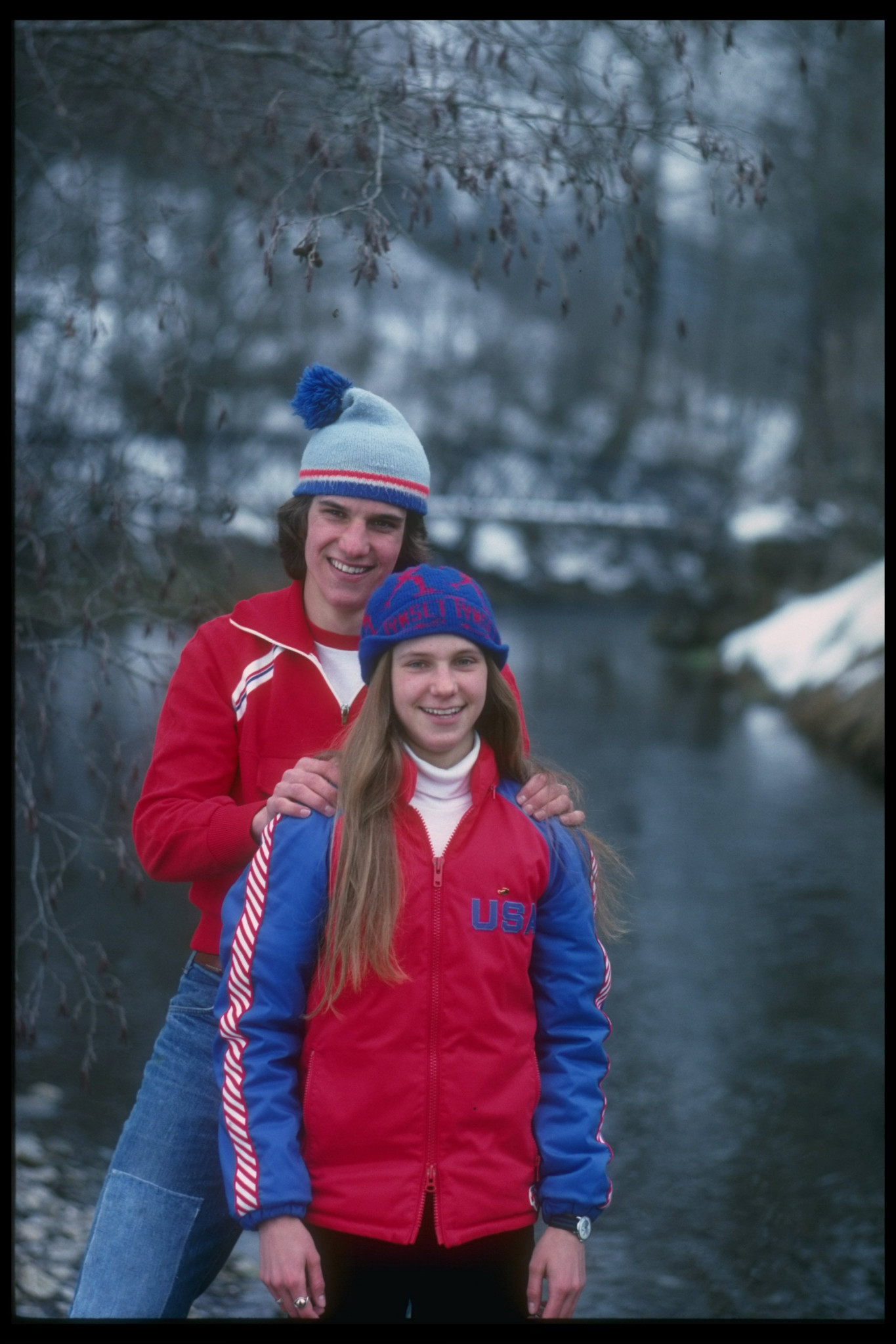 Eric and Beth Heiden in their US speed skating kit ©Getty Images