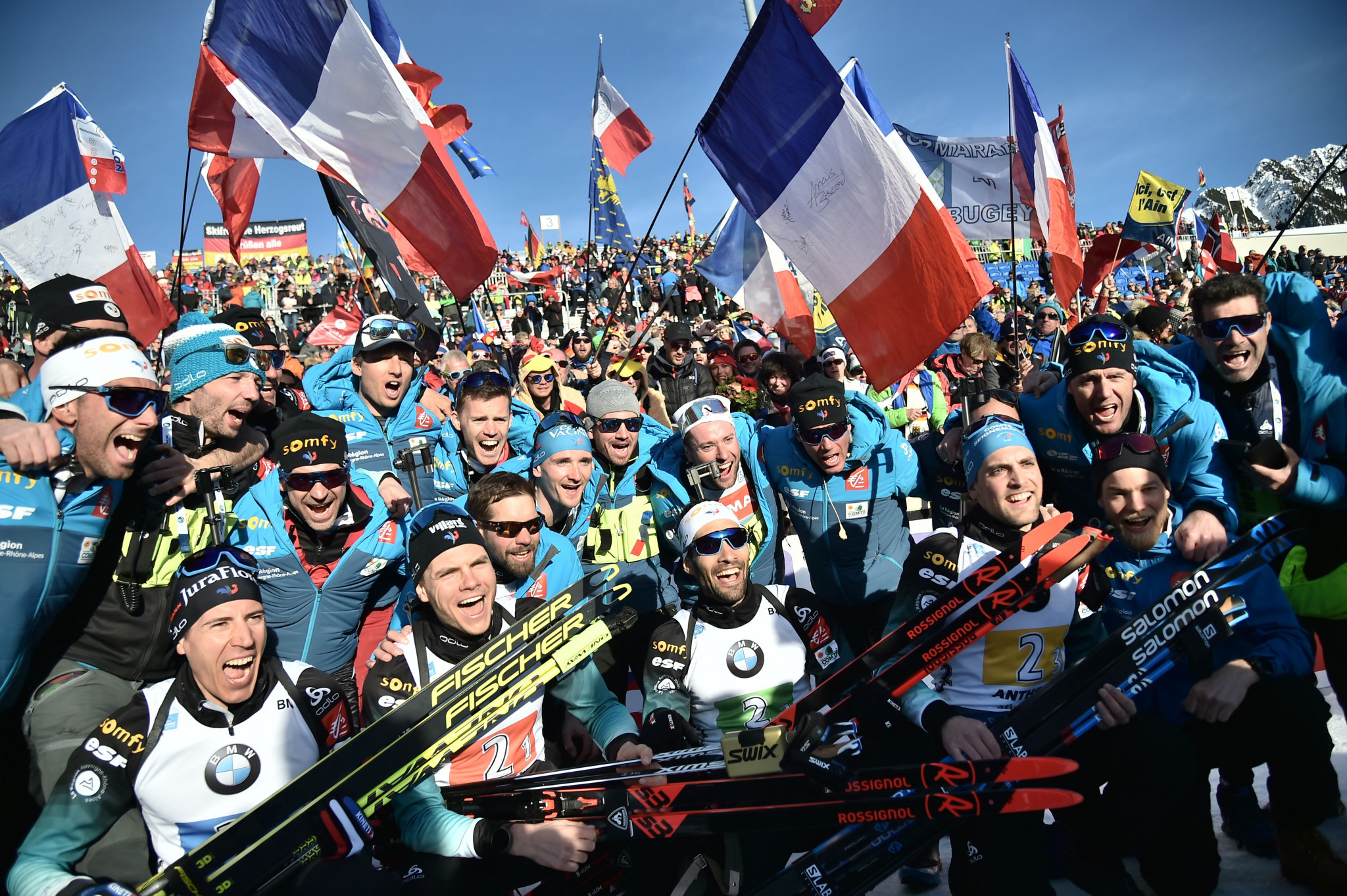 France won the men's event to deny Norway a clean sweep of the relays ©Getty Images