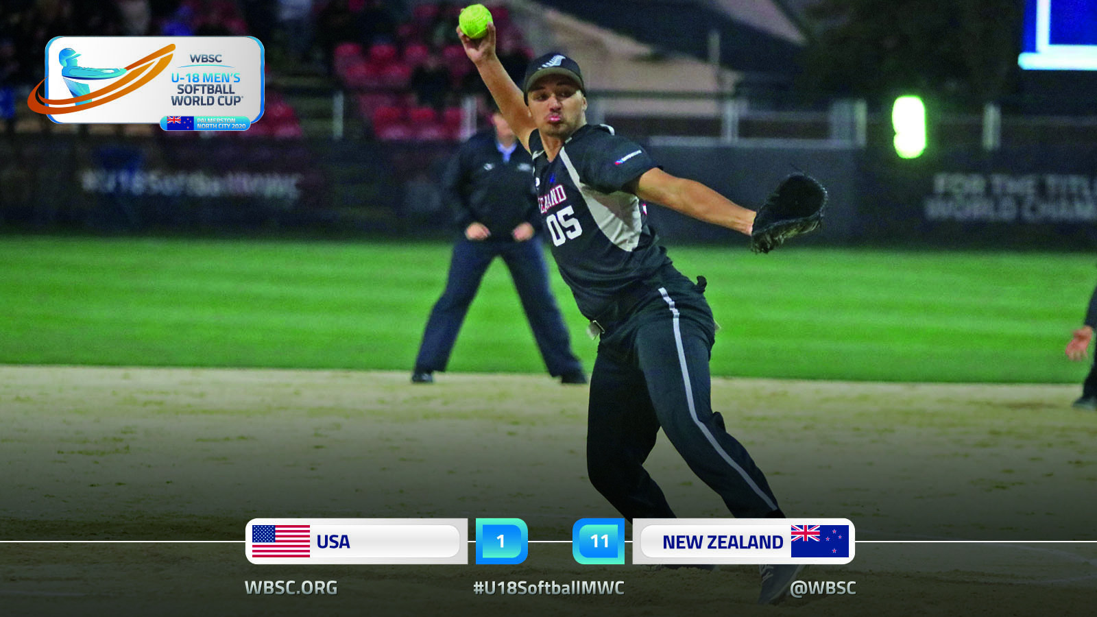 Hosts New Zealand record first win at Under-18 Men's Softball World Cup