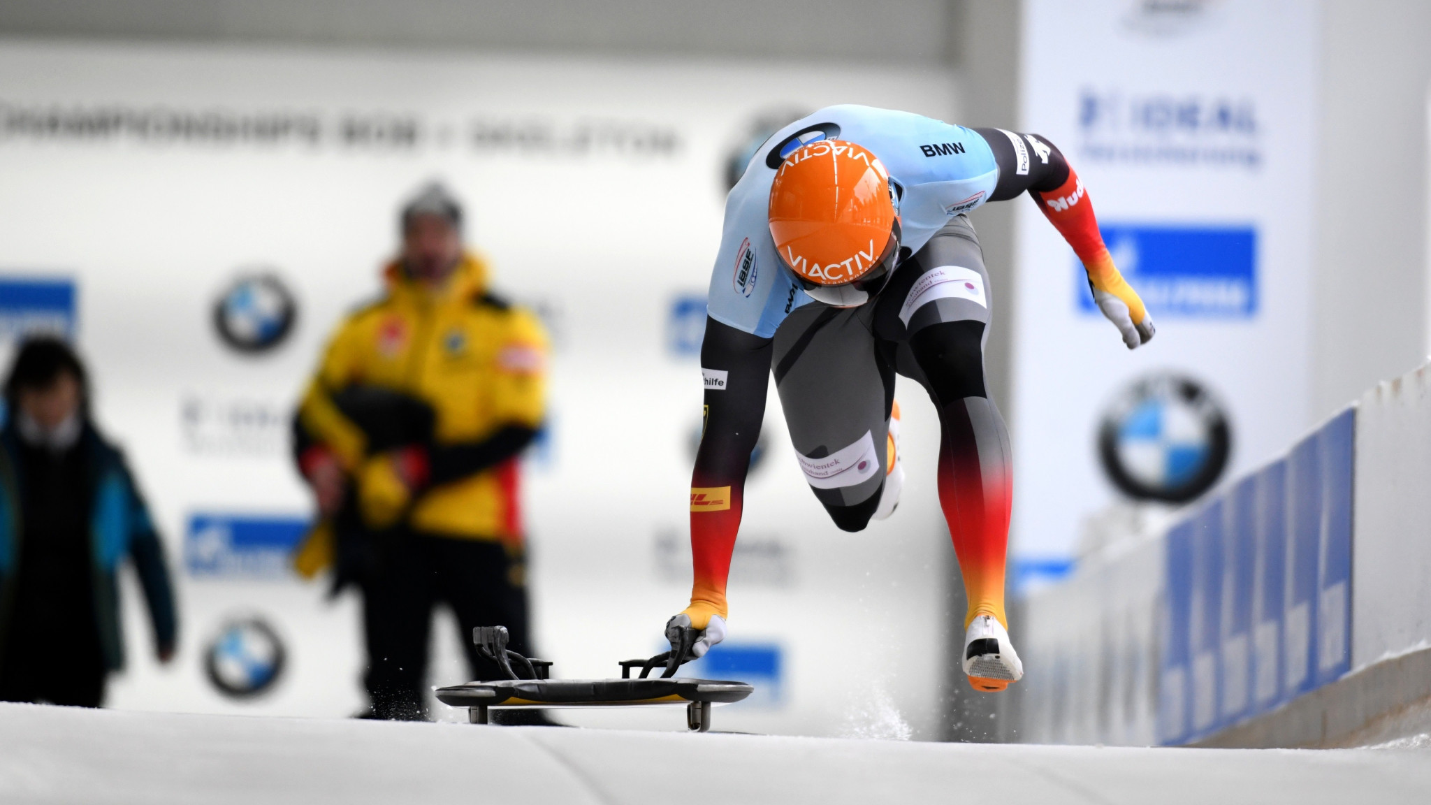 Grotheer the surprise leader at midway point of men's skeleton at IBSF World Championships