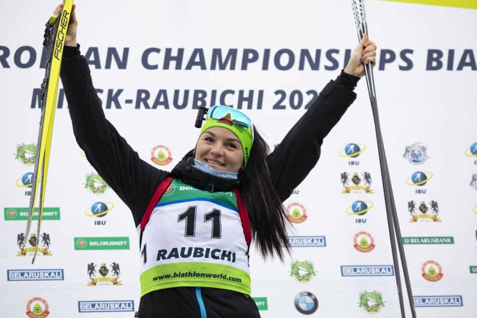 Elena Kruchinkina brought the Belarus total of golds to three on the final day of the IBU Open European Championships in Minsk as she won the women's 10km pursuit title ©IBU