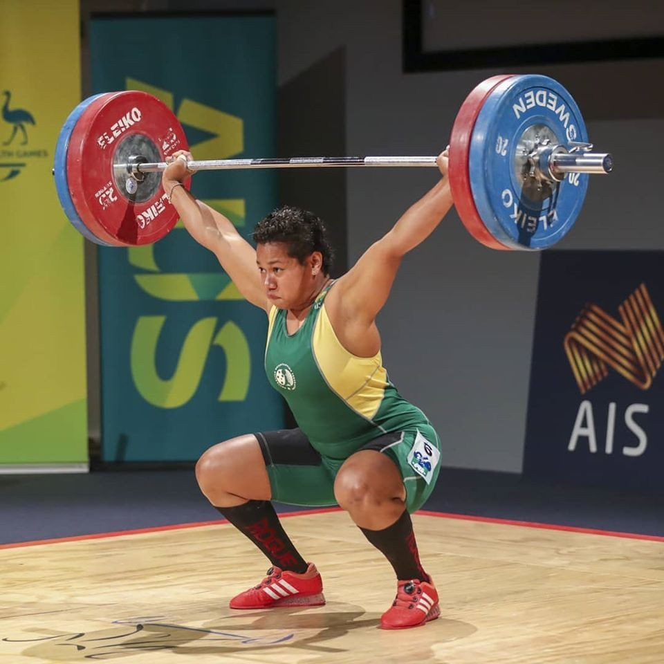 Australian Eileen Cikamatana lifted a total of 250kg while competing in the women's 81kg at Canberra © Australian Weightlifting Federation