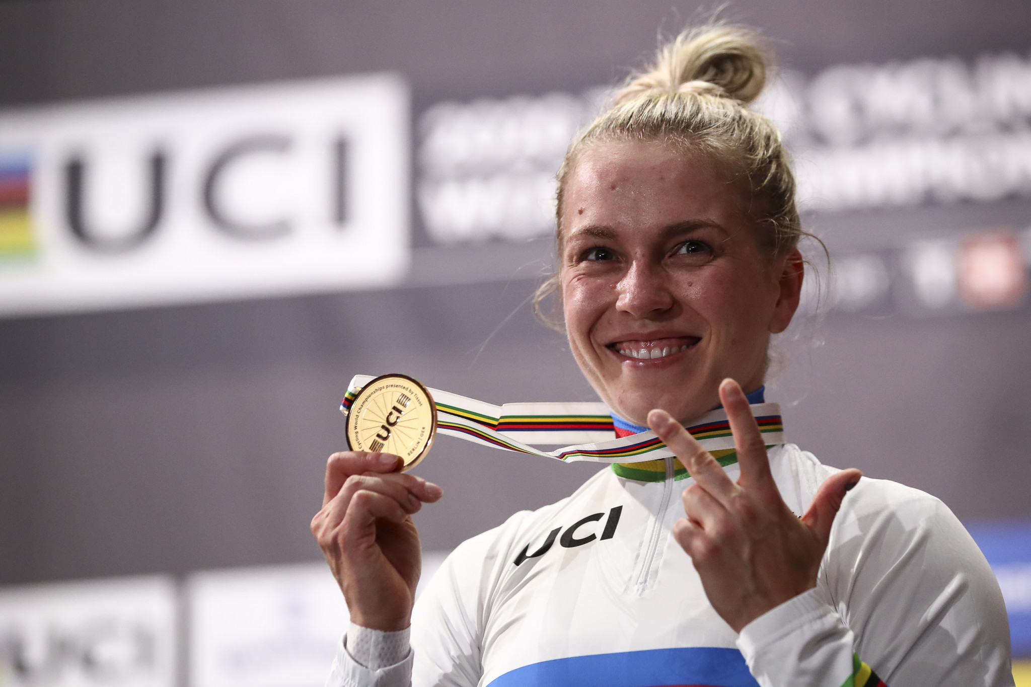Emma Hinze of Germany won her third gold medal of the World Track Cycling Championships ©Getty Images