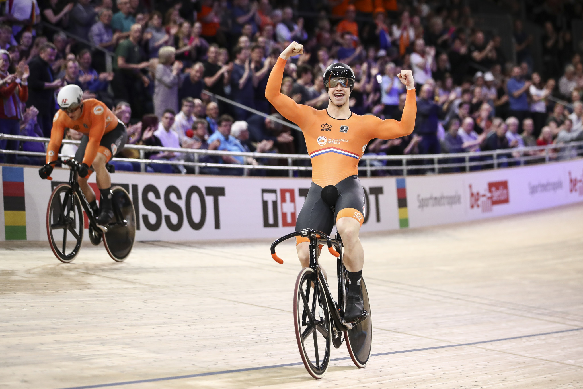 Harrie Lavreysen successfully defended his men's sprint title at the World Track Cycling Championships ©Getty Images